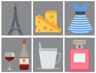Paris icons vector famous travel cuisine traditional modern france culture europe eiffel fashion design architecture symbols illustration.