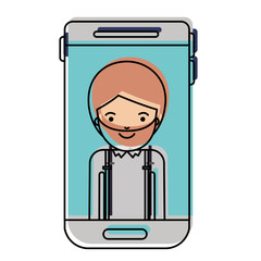 smartphone man profile picture with short hair and beard in watercolor silhouette vector illustration