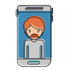 smartphone man profile picture with short hair and van dyke beard in watercolor silhouette vector illustration