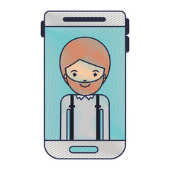 smartphone man profile picture with short hair and beard in colored crayon silhouette vector illustration