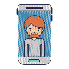 smartphone man profile picture with short hair and van dyke beard in colored crayon silhouette vector illustration