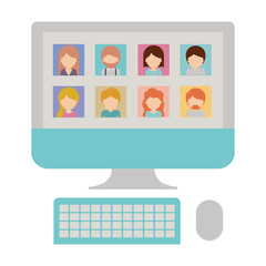 faceless people picture profiles social network in desktop computer screen in colorful silhouette vector illustration
