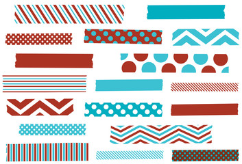 Washi tape vector illustration. Aqua and red holiday masking tape strips. Design elements for decoration. EPS file has global colors for easy color changes and semitransparent tape strips.
