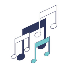 musical notes icons in blue color sections silhouette vector illustration
