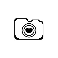 logo camera with love icon. Elements of camera icon for concept and web apps. Illustration  icon for website design and development, app development. Premium icon