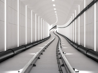 Subway tunnel with light track