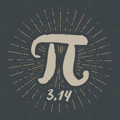 Pi symbol hand drawn icon, Grunge calligraphic mathematical sign, vector illustration