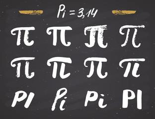 Pi symbols hand drawn icons set , Grunge calligraphic mathematical sign, vector illustration on chalkboard background