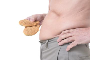 たいやきを食べる肥満体のシニア