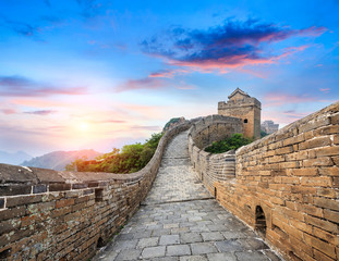 Deurstickers Chinese Muur Great Wall of China at the jinshanling section,sunset natural landscape