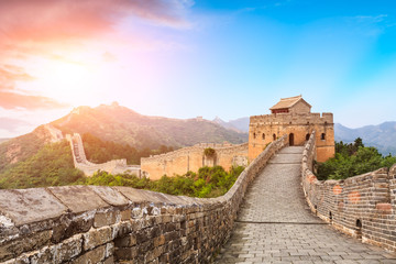 Fotobehang Chinese Muur Great Wall of China at the jinshanling section,sunset natural landscape