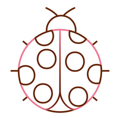 ladybug insect small icon animal vector illustration color line design