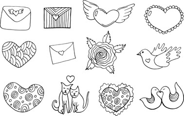 Sticker set for Valentine s Day - coloring page. Doodle cartoon