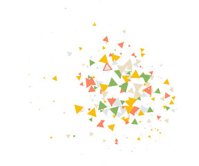 Colorful Shatter Vector Background. Atomic Bomb Explosion, Blast, Bang, Boom Concept. Broken Glass, Technology Futuristic Design. Moving Colorful Shatter Fragments. Cool Falling Triangles Explosion