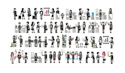 Asian business people isolated big set