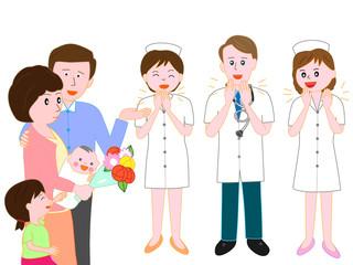 産婦人科の病院を赤ちゃんを産んだ母親が、退院するのを見送る医者と看護師