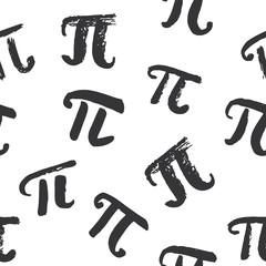 Pi symbol seamless pattern vector illustration. Hand drawn sketched Grunge mathematical signs and formulas, Vector illustration