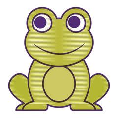 frog cute animal sitting cartoon vector illustration drawing design