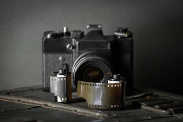 Old retro camera and 35 mm