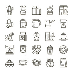 Simple set of Coffee related vector line icons. Collection coffee icons in thin line style. Cafe vector icons. Vector illustration