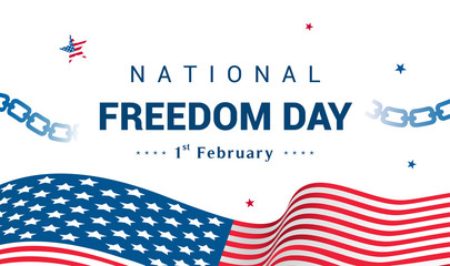 National Freedom Day Vector illustration, USA flag waving with broken chain on white background.