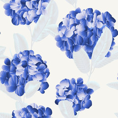 Seamless pattern, blue hydrangea flower with white guava leaves on light grey background