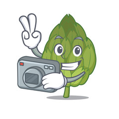 Photographer artichoke mascot cartoon style