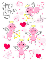Door stickers Rainbow PrintSet Wedding and Valentines Day design elements. Little cute cupids isolated on white background. Vector illustration.