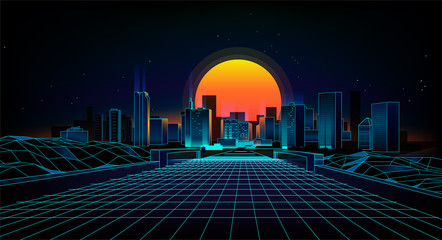 Retro background  landscape 1980s style.  Retro 80s Sci-Fi background city Landscape.Futuristic background retro wave. Wall mural