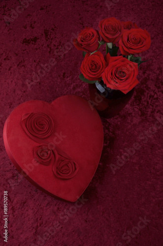 Valentine Or Love Themed Shot With Red Hearts Lace Roses On Crushed