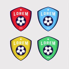 Soccer Logo or Football Club Sign Badge Set.