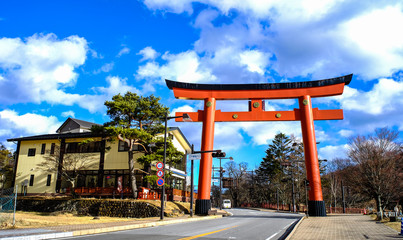 Giant Torii at downtown in Nikko, Japan