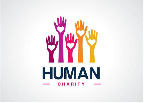 Human Charity Logo Template Design Vector, Emblem, Design Concept, Creative Symbol, Icon