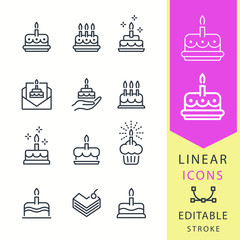 Cake - line vector icon set. Editable stroke.