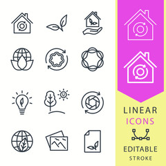 Ecology - line vector icon set. Editable stroke.