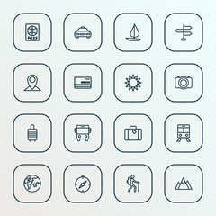 Exploration icons line style set with direction, luggage, credit and other tram 