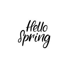 Hello Spring Hand Lettering Inscription. Spring Greeting Card. Brush Calligraphy. Vector Illustration.