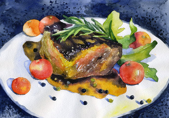Juicy roasted steak with tomatoes and seasonings. Watercolor. Illustration
