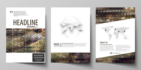 Business templates for brochure, magazine, flyer, annual report. Cover design template, vector layout in A4 size. Abstract backgrounds. Geometrical patterns. Triangular and hexagonal style.