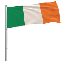 Isolate flag of Ireland on a flagpole fluttering in the wind on a white background, 3d rendering.