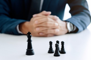 businessman with chess office, strategy and competition concept