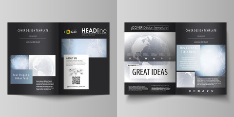 The black colored vector illustration of the editable layout of two A4 format modern covers design templates for brochure, flyer, booklet. Abstract futuristic network shapes. High tech background.
