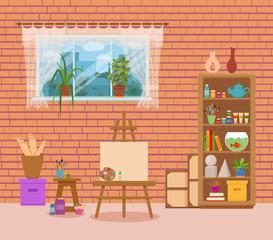 Art studio interior colorful vector illustration.