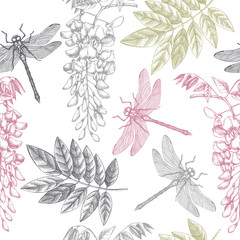 Seamless pattern with hand drawn dargonfly and wisteria flowres. Vector insects sketch. Vinatge spring background. Botanical illustration.
