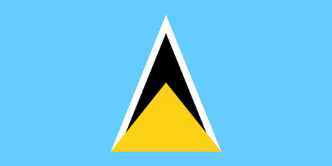 Flag of Saint Lucia in national colors, vector.