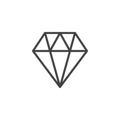 Diamond line icon, outline vector sign, linear style pictogram isolated on white. Brilliant gem symbol, logo illustration. Editable stroke