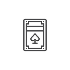 Pack of playing cards line icon, outline vector sign, linear style pictogram isolated on white. Symbol, logo illustration. Editable stroke