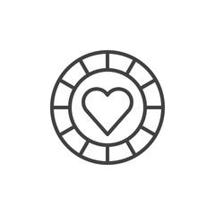Pocker chip heart suit line icon, outline vector sign, linear style pictogram isolated on white. Casino money symbol, logo illustration. Editable stroke