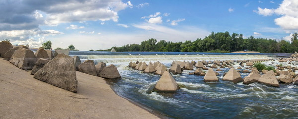 Stitched Panorama. Overflow dam on the Big Irgiz River In the Saratov region, Russia