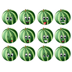 watermelon with different emoticons